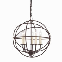 18-in W Rust Hardwired Standard Pendant Light with Clear Shade Orb
