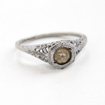 Antique Sterling Silver Art Deco Rhinestone Filigree Ring - Vintage Size 8 1/4 Faux Diamond Solitaire 1920s 1930s Jewelry