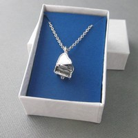 Sterling Silver 925 Dimensional Grand Piano Charm Chain Necklace