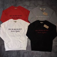 Fashion Online Burberry Fashion Embroidery Logo Pullover Sweater