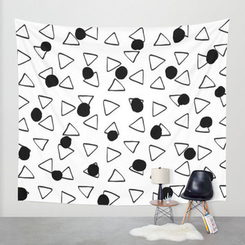 Abstract black and white wall tapestry/Abstract tapestry/Black and white tapestry/wall tapestries/wall decals/Triangles wall tapestry
