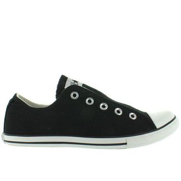 MDIGUG7 Converse All-Star Chuck Taylor Slim Slip - Black Canvas Slip-On Laceless Sneaker