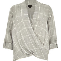 River Island Womens Grey check twist wrap blouse