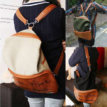 Fashion  Canvas  2 in1 Backpack Book School Handbag Shoulder Bag Rucksack  7_S = 1916275844