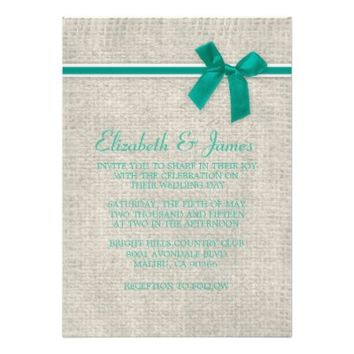Turquoise Rustic Burlap Wedding Invitations