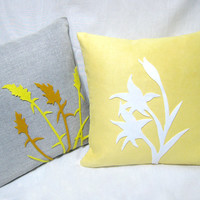 Pick Your Color. Wild Grass Summer Lilies Grey And Yellow Decorative Pillow Covers Set. Contemporary Botanical Floral Pillow Case Set