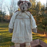 Angel Bear - Plush and Wood - 25 inches tall - Vintage Dress and Crocheted Lace Collar