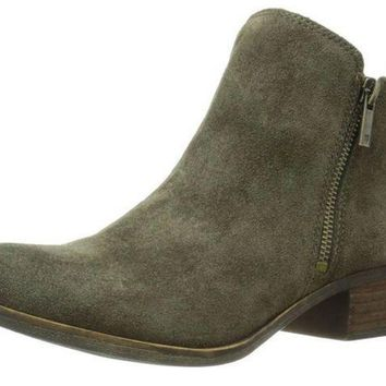 MDIGYW3 Lucky Brand Basel Olive Suede Booties