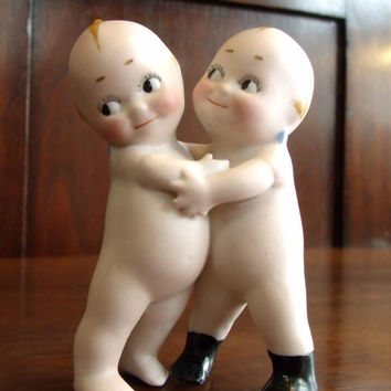 Antique German Rose O'Neill Bisque Twin Kewpie Huggers, Kewpie Dolls