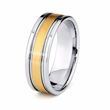 Yellow Gold Wedding Ring Mens Wedding Band 8mm 18k Tungsten Carbide High Polished Tungsten Ring Man Engagement Ring Male Anniversary Promise Two Tone