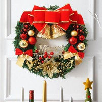 30cm Christmas Large Wreath Door Wall Hanging  Ornament Garland Decoration Red Bowknot Christmas Decorations For Home Wreath