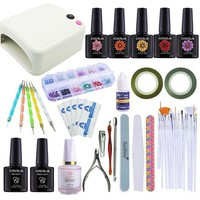 DCCKV2S Coscelia Nail Art Kits 36W UV Nail Dryer Lamp 5 Colors Soak Off Gel Nail Polish Varnish Base Top Coat Polish Remover Files Manicure Set