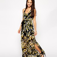 French Connection Isabella Maxi Dress - Black pattern