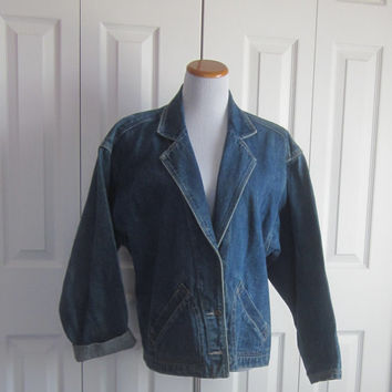 Vintage Jean Jacket, Shawl Collar Denim Jacket, Womens Size Medium Denim Jean Jacket, Hipster Clothing, Boho Festival Wear