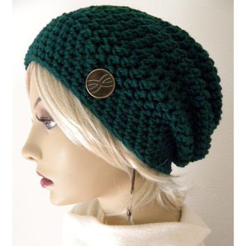 Boho Fashion Slouchy Beanie hat Emerald Green by FreeSpiritHats