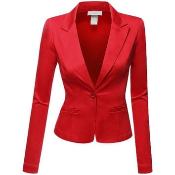Doublju J. Tomson Womens Solid Long Sleeves Blazer