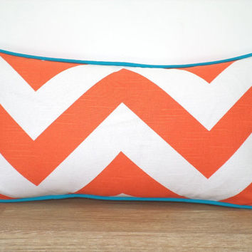 Orange lumbar cover 20x12, chevron pillow case bedroom decor, geometric cushion entryway bench, orange and turquoise pillow piping