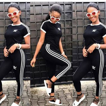 Fashion Print Short Sleeve Tracksuit women clothes Breathable Sports Suit With Long Pants Pullover Shirts 2pcs Running