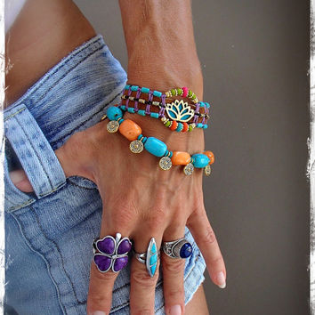 Golden LOTUS BRACELET Turquoise Western Leather beaded Cuff Yoga Bracelet gypsy Hippie Ibiza Hawaii Cowgirl bracelet beadwork GPyoga