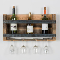 Reclaimed Wood Industrial Wine Rack - LAST ONE, FREE US SHIPPING