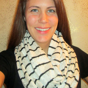 Great Birthday Gift! White Lace with Black Stripe, Homemade, Infinity Scarf.