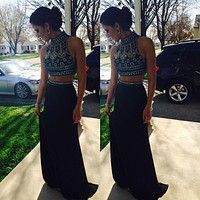 New Fashion High Neck Crystal Beaded Navy Blue Two Piece Prom Dresses Sleeveless 2015 Long Party Evening Gowns Robe De Soiree
