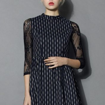 Ravishing Striped Dress with Lace Sleeves