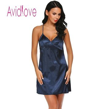 Avidlove Women Night Dress Sleepwear Nightgown Pajamas Satin Lace Patchwork Sexy Spaghetti Strap Chemise Lingerie  lenceria