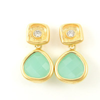 Mint Green Earrings with Matte Gold Clear Rhinestone Posts Small Dainty Dangle Jewelry