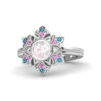 Round Rose Quartz Sterling Silver Ring with Pink Sapphire & London Blue Topaz