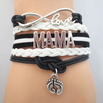 Infinity  Love MAMA Team Bracelet black white Customized Wristband friendship Bracelets B09159