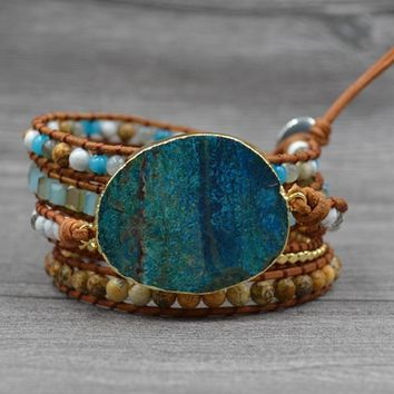 DIEZI Men Leather Wrap Beaded Bracelet Huge Ocean Stone Bracelet For Women Statement Jewelry Bohemian Bracelet Valentine's Gift
