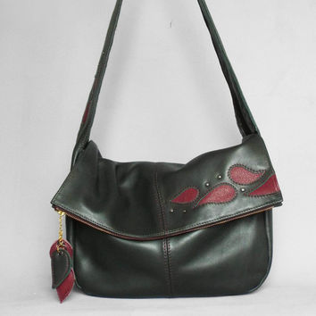 Leather hobo bag. Foldover green/burgundy bag. Leather slouchy shoulder purse.