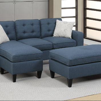 Poundex F6577 2 pc daryl navy linen like fabric reversible chaise sectional sofa set with ottoman