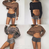 Thin Crop Top Pullover