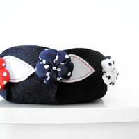 Catchall felt bowl - navy blue red white docs - ready to ship