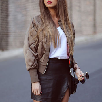 Black Asymmetric Hem Faux Leather Slim Skirt