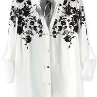 Floral V Neck Button Down Shirts - OASAP.com