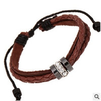 Fashion hand-woven Leather Strap Chain Bracelet braid jewelry Vintage Rope Bracelets for women men = 1669421572