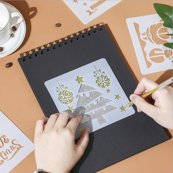 5pcs/lot Christmas Plastic Stencils (13*13cm)For Wall Painting Scrap Stamping Album Decorative Embossing Paper Card