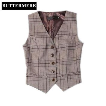 BUTTERMERE Brand Clothing Women'S Vest Suit Ladies Plaid Vest Working Styles Coffee Spring Waistcoat Fashion V Neck Chalecos