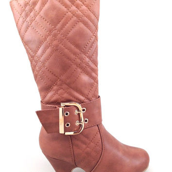 Tan Vegan Leather Girls Boot with Quilt Design