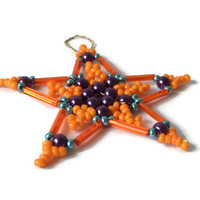 orange, five point beaded star, seed bead ornament for Christmas, tree ornament, gift tag, decoration item