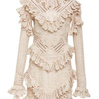 Beige Long Sleeve Lace Mini Dress