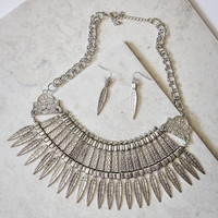 Spike It Up Statement Necklace and Earring Set in Silver