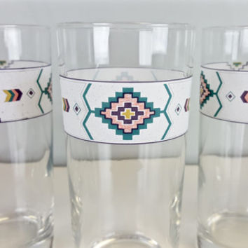 Vintage Glasses Boho Navajo Aztec Tribal Arrow Southwest Pastel Studio Nova Adirondack Pattern Drinking Glasses Boho Chic Kitchen Home Decor