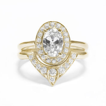 Oval Shaped Diamond Engagement Ring with Matching Side Diamond Band - The 3rd Eye