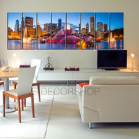 "LARGE Wall Art 100"" x 32"" 8 Panels Art Canvas Print Beautiful Chicago Skyline Sunset Light - Chicago Canvas Printing"