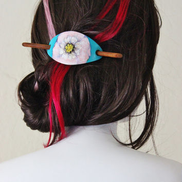 Vintage leather barrette, hand painted. Check homepage for sale code