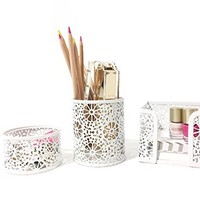 Blu Monaco White Desk Organizer for Women - 3 Piece Desk Accessories Set - Paper Clip-Accessory Tray, Sticky Note Holder, Pen Cup - White Floral Sunflower Pattern
